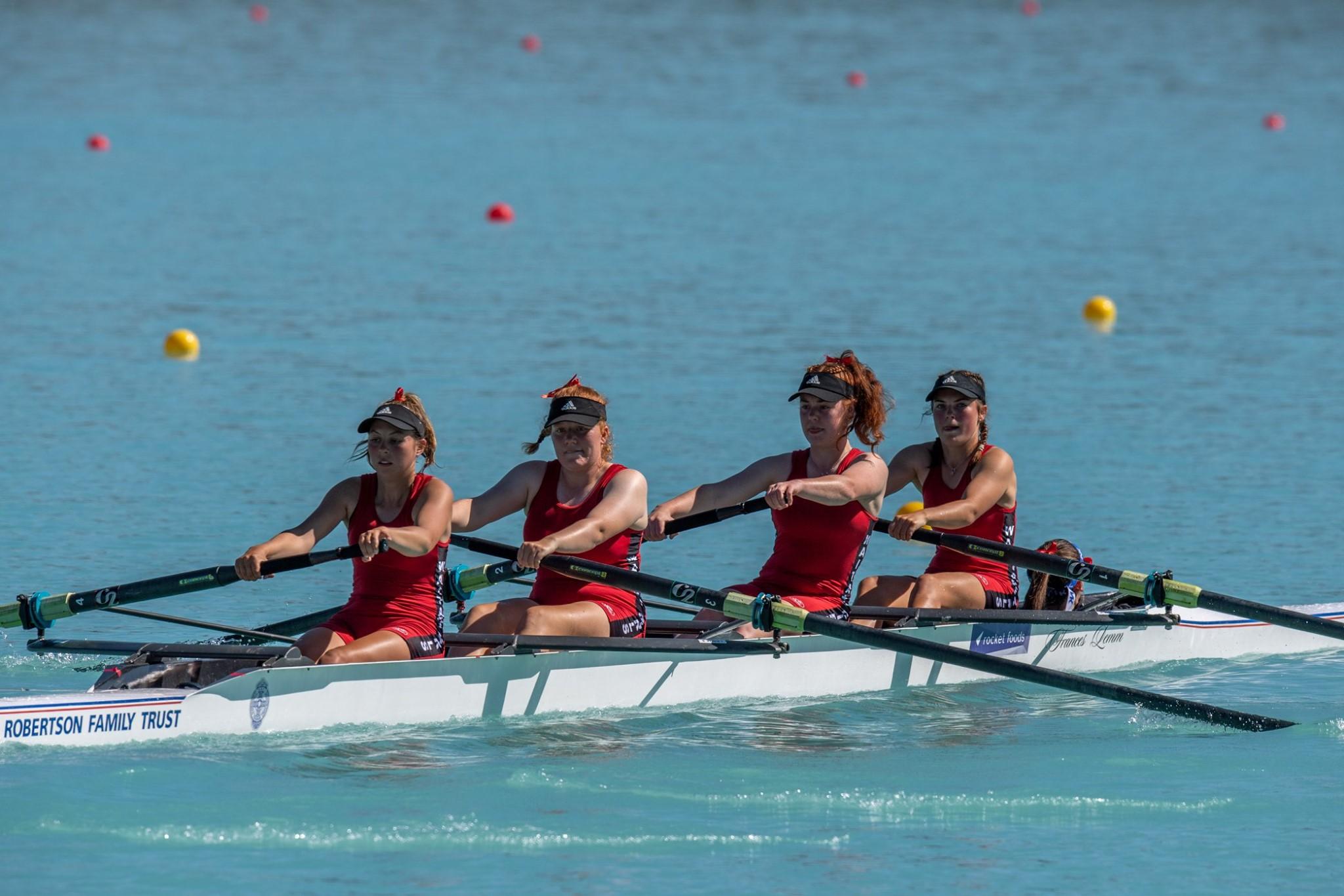 Waitaki Girls High rowing team on the water